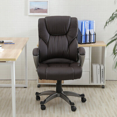 Brown PU Leather High Back Office Chair Executive Task Ergonomic Computer Desk 1