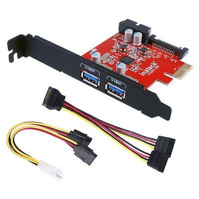 Inateck 2 Ports Mini PCI-E USB 3.0 Hub Controller Adapter PCI Express Card Power