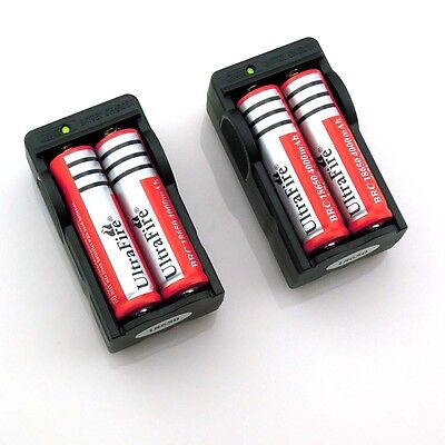 4x UltraFire 18650 3.7v Rechargeable Li-ion Battery 4000 + 2x Smart Charger ! on Rummage
