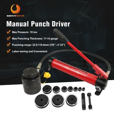 15ton 12-4 Hydraulic Knockout Punch Conduit Hole Cutter 10 Dies Hand Pump Kit