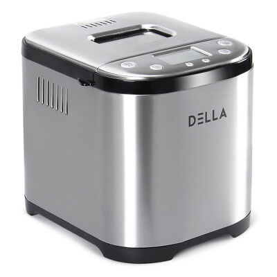 2 LB Automatic Bread Maker Stainless Steel Programmable Bread Machine, Silver