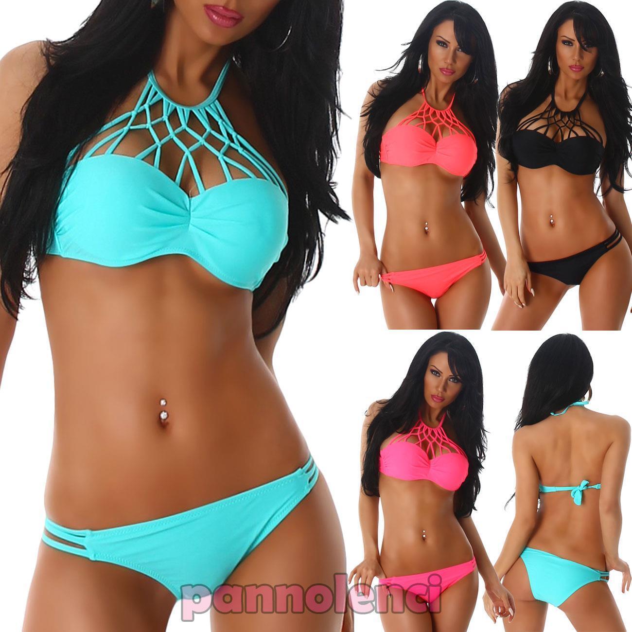 Bikini triangolo push-up donna costume spiaggia piscina  tagli listini due pezzi