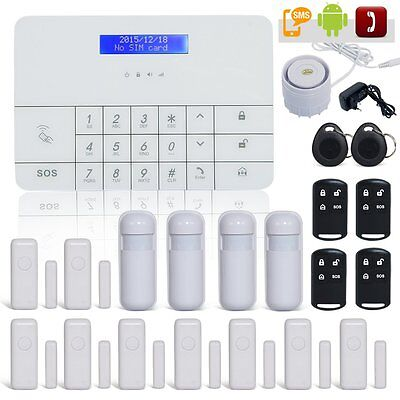 Funk GSM Alarmanlage Haus Alarm Touch SMS Wireless Bewegungsmelder Komplett Set