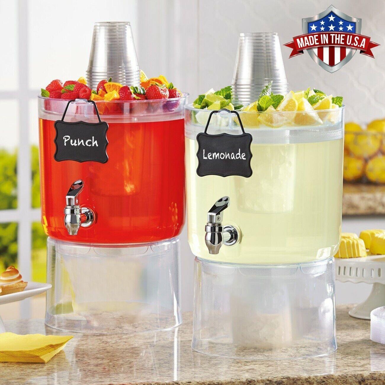 2 Pack Cold Beverage Drink Dispenser Stackable 1.75 Gallon with Chalkboard Label Dinnerware & Serveware