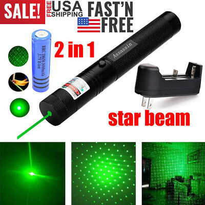 50Miles 532nm 303 Green Laser Pointer Visible Beam Light Lazer Pen+18650+Charger