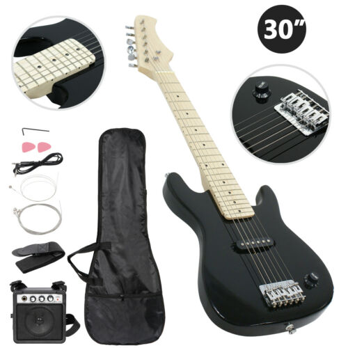 Kids Beginner Guitar With Amp Case 30″ Electric Guitar Accessories Pack Black Electric Guitars