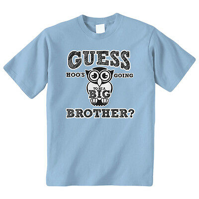 Guess Hoos Going To Be A Big Brother Kids Youth T-Shirt Tee Owl
