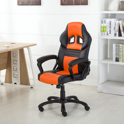 Racing Style Office Chair Ergonomic PU Leather Swivel Seat Style, Orange / (Orange Office Chair)