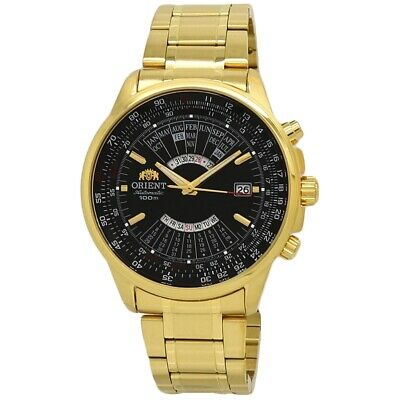 Orient Perpetual Calendar FEU07001BX Black Dial Gold Tone Men's Watch