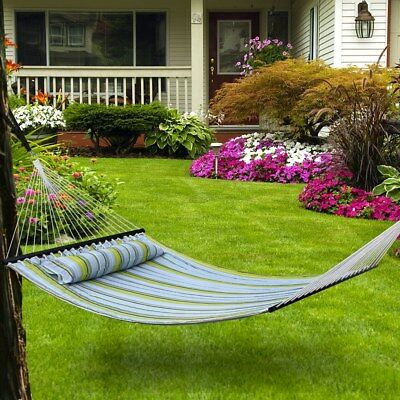 Outdoor Double Hammock Quilted Fabric Sleeping Bed Swing Hang W/ Pillow 2 Person