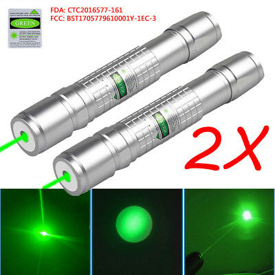 2PCS  20 Miles Green 1mw 532nm Laser Pointer Pen Visible Beam Light  USA