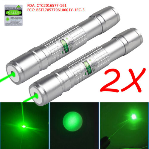 2PC Military 20 Miles Green 1mw 532nm Laser Pointer Pen Visible Beam Light