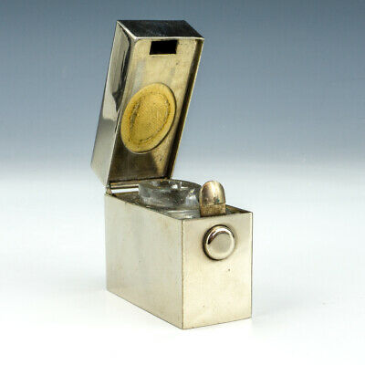 Antique Chrome Plated - 'I'- Flip Top Pocket Travel Inkwell Ink Bottle