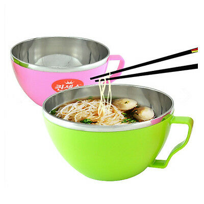 2Pcs Stainless Steel Color Bowl With Handle For Ramen Noodle Udon Korean Dish