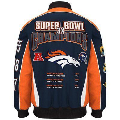 Nfl Mens Denver Broncos 3 Time Super Bowl Champion Cotton   Twill Jacket