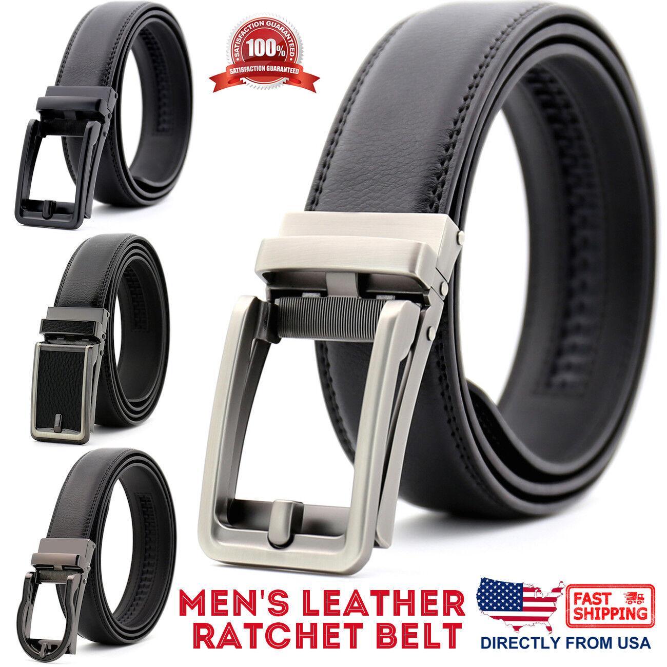 Men's Genuine Leather Adjustable Automatic Buckle Ratchet Golf Dress Belt Belts