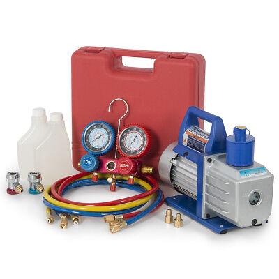 12hp 5cfm Vacuum Pump W Dual Gauge Ac Diagnostic Tester Manifold Set R134a