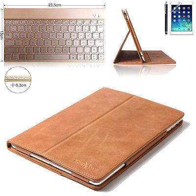 IPad Pro 12.9 Echt Leder Tasche Smart Case Hülle mit Bluetooth Tastatur Qwertz