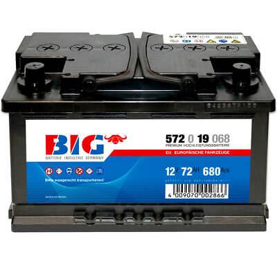 Autobatterie 12V 72Ah Pluspol links BIG Starterbatterie ersetzt 70Ah