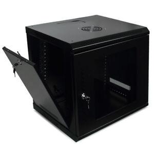 9U Server Cabinet Glass Locking Door w/ Key Wall Mount Network Rack  (Black)
