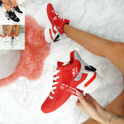 NEW WOMENS LADIES HIGH TOP SNEAKERS CHUNKY TRAINERS SPORTS FASHION SHOES