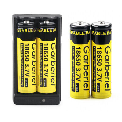 4pcs 18 x 65mm Battery Li-ion 3.7V Rechargeable Cell + Charger For Flashlight
