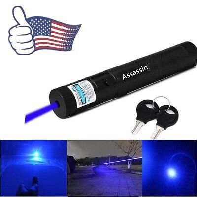 Blue Purple Laser Pointer Pen Adjustable Focus 405nm 50Mile Visible Beam Lazer