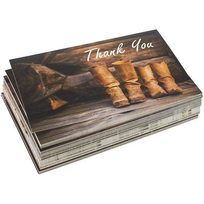 40 - Pack Rustic, Country - THANK YOU CARDS,  Bulk                            B2