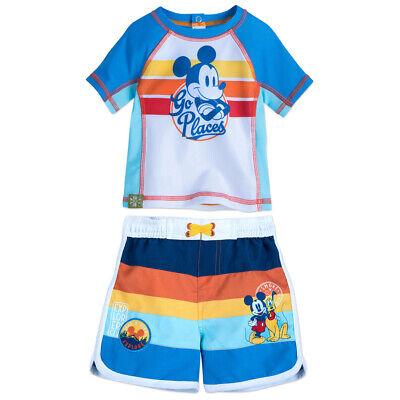 Disney Store Mickey Mouse Baby Boy Swim Trunks Rash Guard Swim Set 3-6 Mths