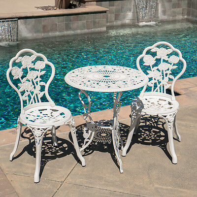NEW 3pc Patio Bistro Set Table Chair Set Outdoor Garden Furniture Antique White
