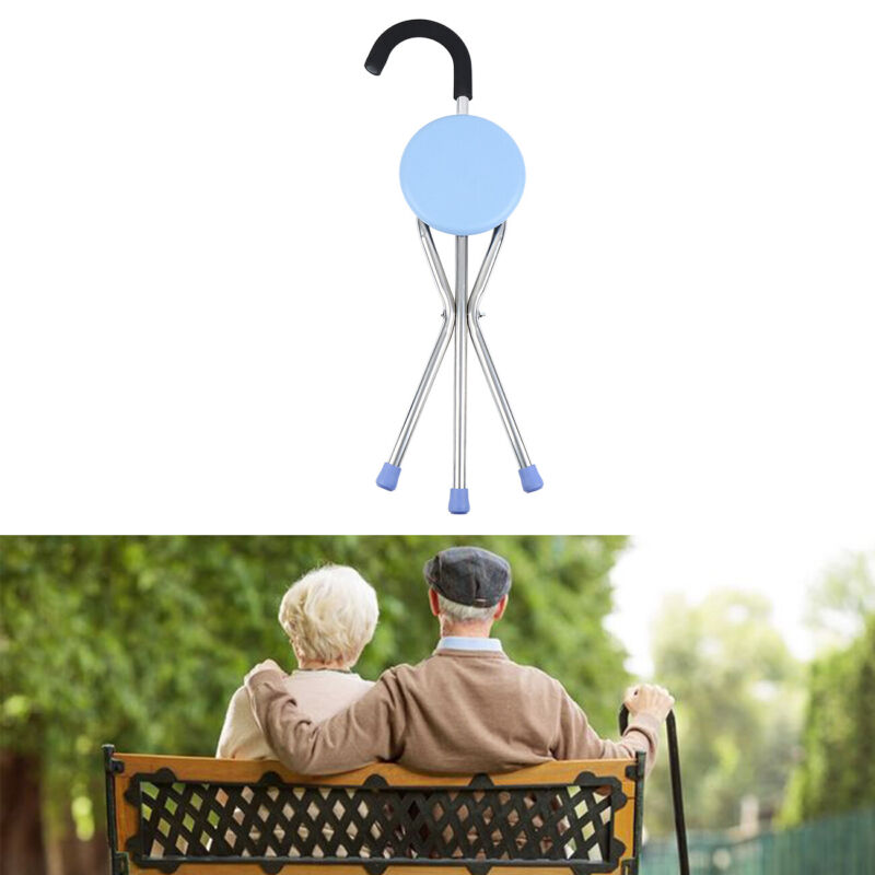 Portable Walking Stick With Seat Travel Cane Camp Hiking Fol