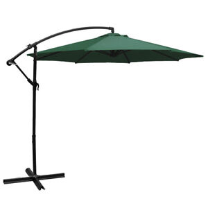 10u0027Ft Outdoor Patio Shade Umbrella Cantilever UV Resistant Hanging Offset,  Green