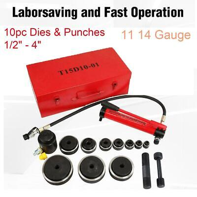 10 Dies 15 Ton Hydraulic Knockout Punch Driver Kit Conduit Hole Tool 11 14 Gauge