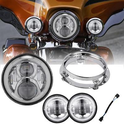 "7"" LED Headlight+passing lights+Passing Light for 94-2016 Road King, Road Glide"