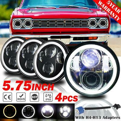 "4Pcs 5.75"" LED Headlights Halo DRL Angel Eyes DOT Lamp for Plymouth Vintage Car, used for sale  Shipping to South Africa"