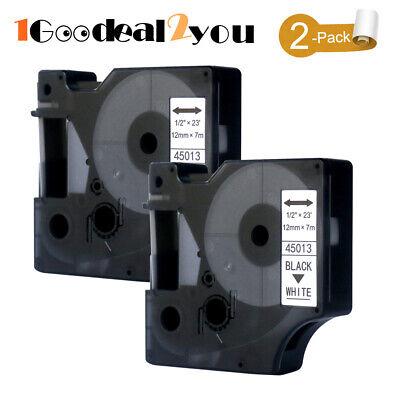 2 Pk 45013 Label Tape Compatible Dymo D1 Maker Label Manager 12mm Black On White