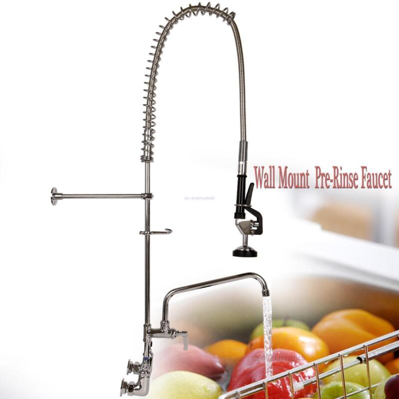 """Commercial Wall Mount Pre Rinse Faucet w/ 12"""" Add On Sink Hotel Restaurant"""
