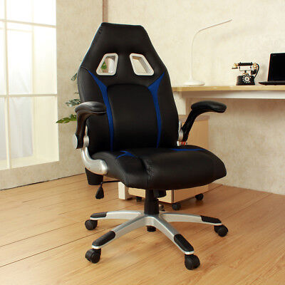 Office Executive Swivel And Tilt Racing Style Video Gamer High Back Chair Blue