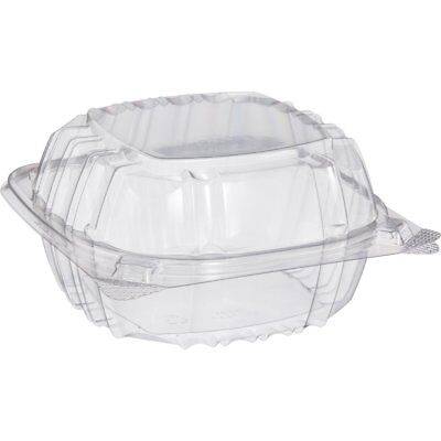 Small Clear Plastic Hinged Food Container 6x6 for Sandwich Salad Party Favor - Plastic Containers For Party Favors