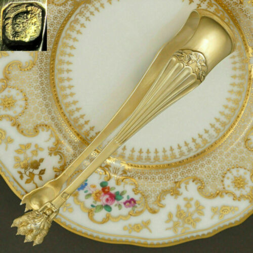 Antique French Sterling Silver Gold Vermeil Sugar Tongs, Neoclassical, Lion Paws