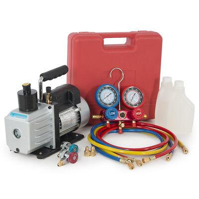 Dual Gauge R134a Ac Hvac Air Condition Tester Manifold 5cfm 12hp Vacuum Pump