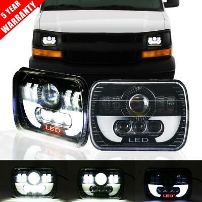 "Pair 7x6"" 5x7"" 150W LED Headlight DRL Porjector Lamp for Chevy Express Cargo Van"