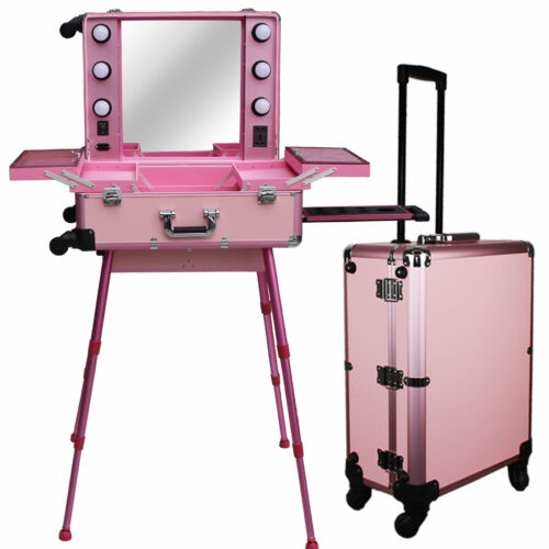 Pro Rolling Studio Makeup Artist Train Case With Lights C...