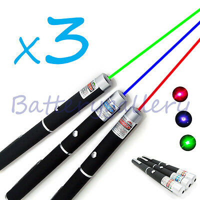 3PCS Green + Blue Violet + Red Light Beam Powerful 5MW Laser Pointer Pen