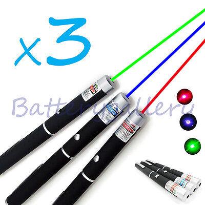 3pcs Green Blue Violet Red Light Beam Powerful 5mw Laser Pointer Pen