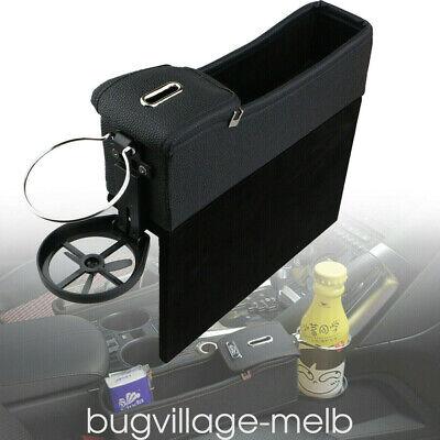 Black Catch Catcher Box Caddy Car Seat Gap Slit Pocket Storage Organizer Leather