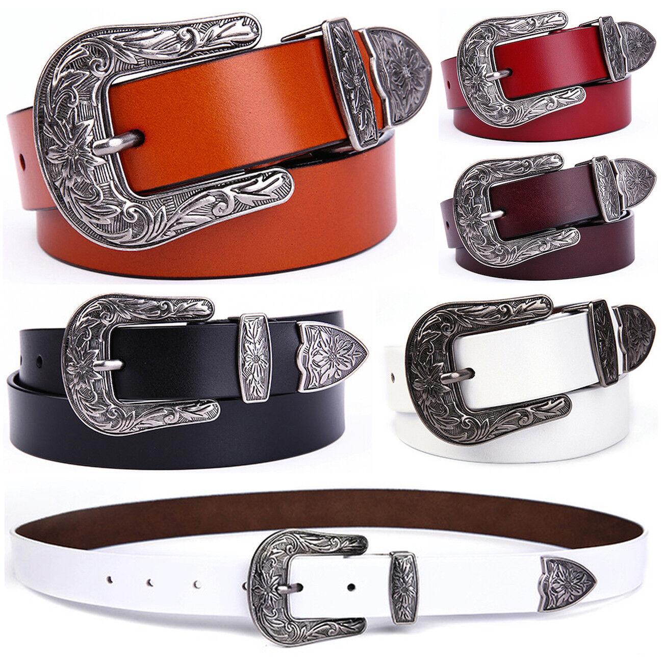 Women's Vintage Western Floral Buckle Cowgirl Handcrafted Genuine Leather Belt Belts