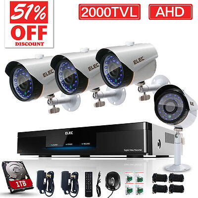 ELEC 8CH 1080N 2000TVL AHD DVR Day/Night Outdoor Home Security Camera System 1TB