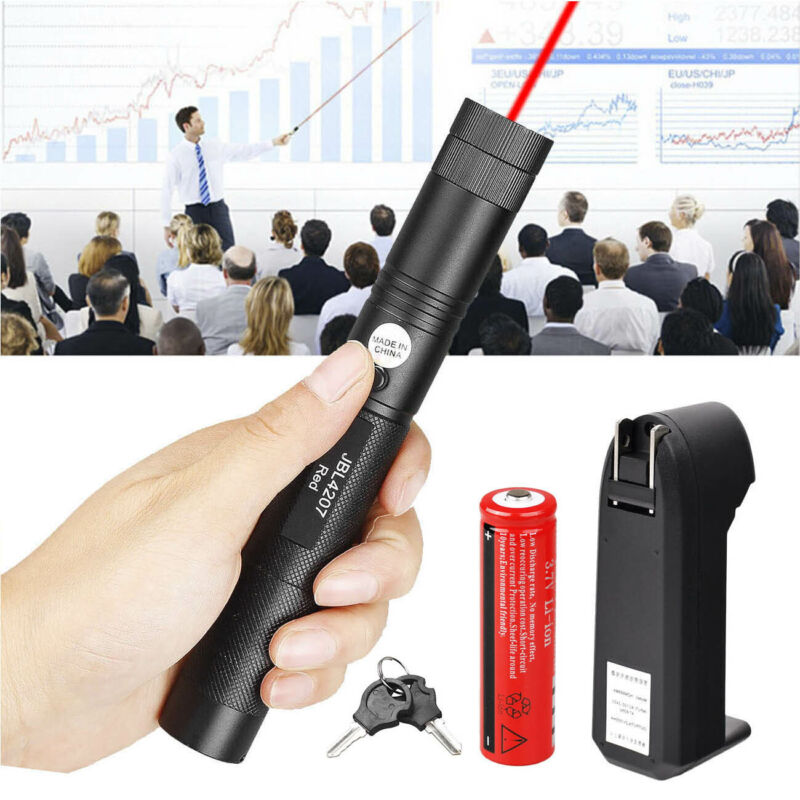 200Miles 650nm Red Laser Pointer Pen Visible Beam Light Lazer + 18650 + Charger