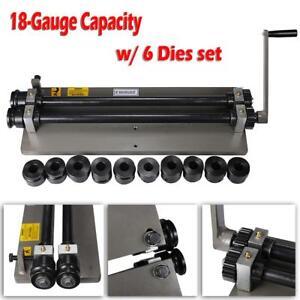 Sheet Metal Bead Roller Steel Gear Drive Bench Mount 18-Gauge Capacity w/ 6 Dies